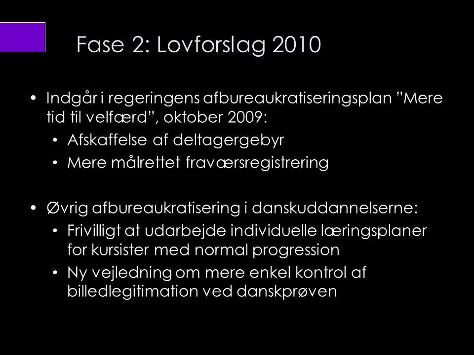 Fase 2: Lovforslag 2010 Indgår i regeringens afbureaukratiseringsplan Mere tid til velfærd , oktober 2009:
