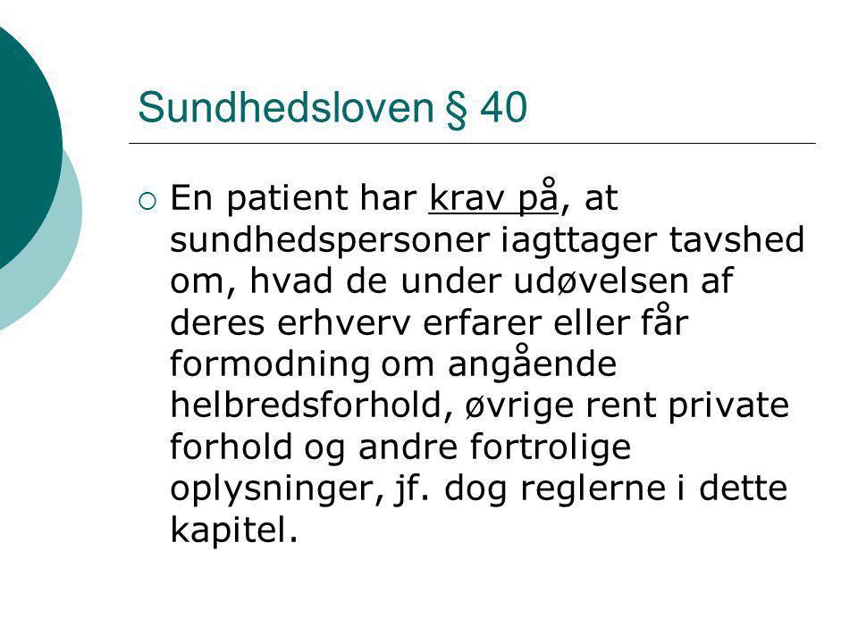 Sundhedsloven § 40