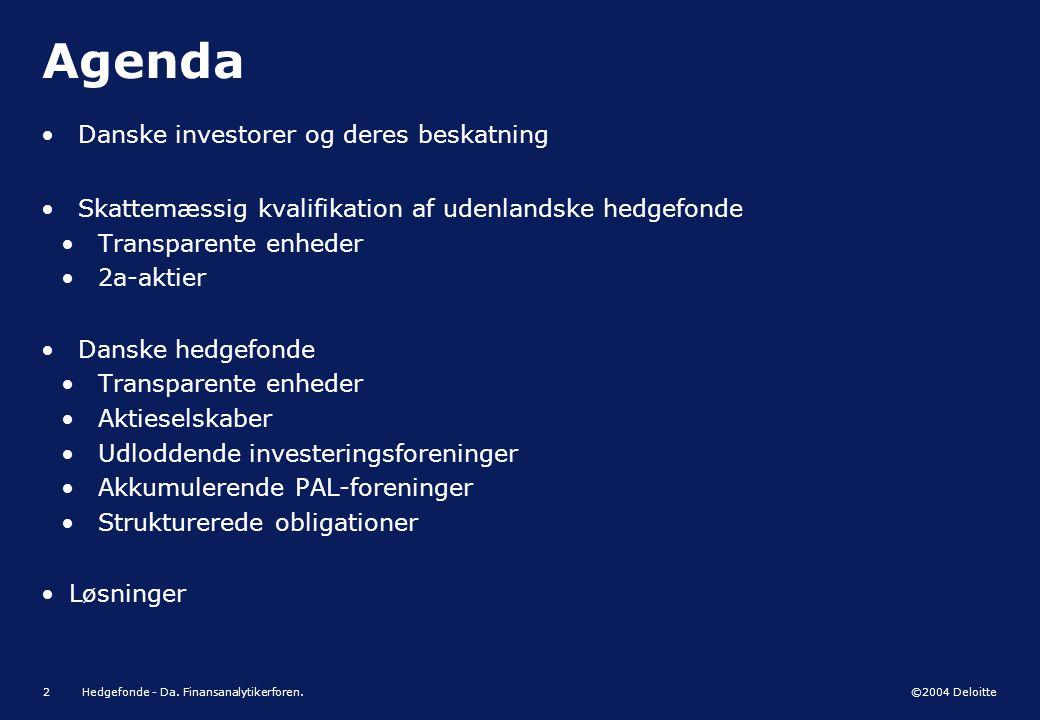 Agenda Danske investorer og deres beskatning