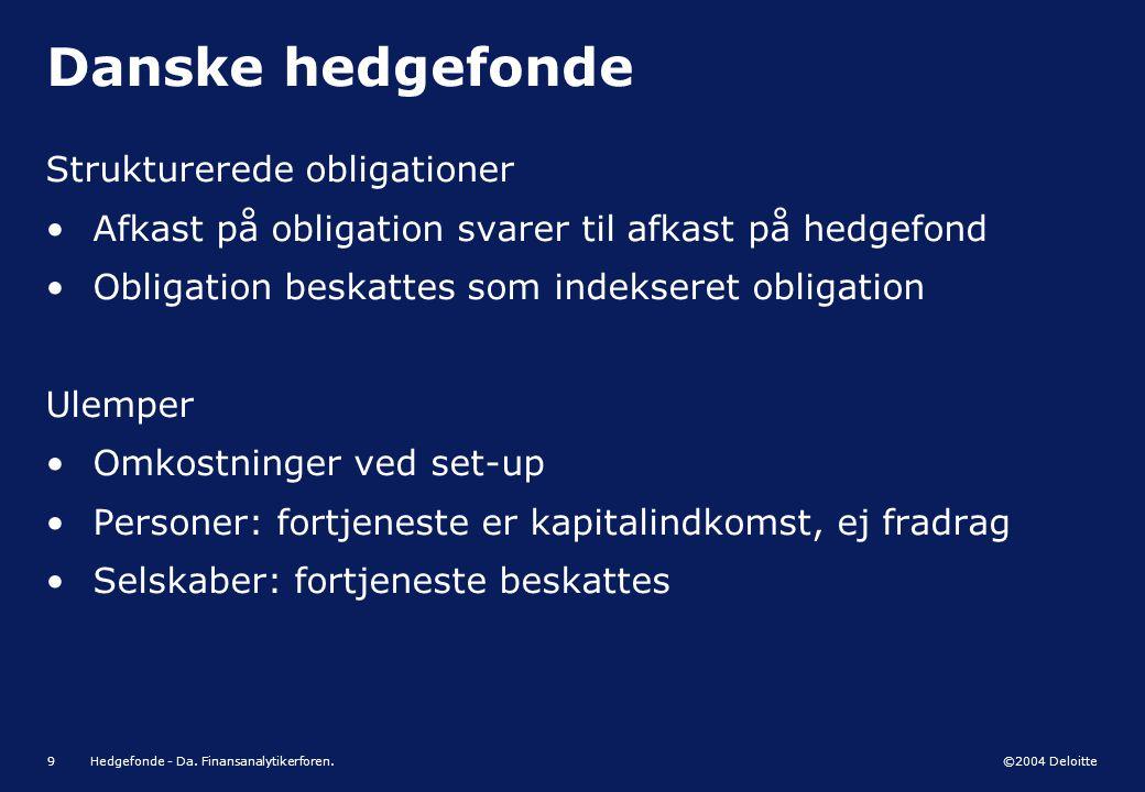 Danske hedgefonde Strukturerede obligationer
