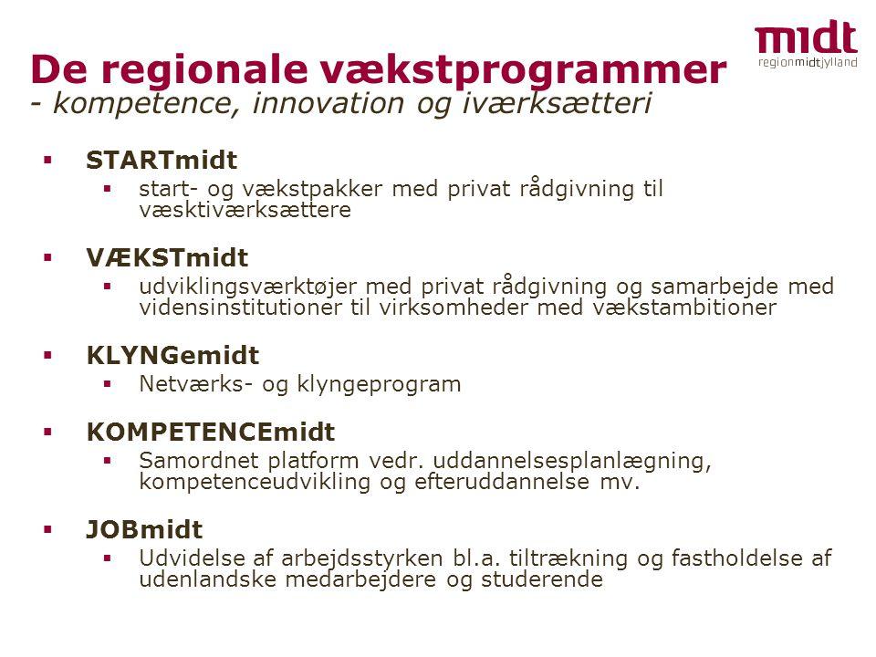 De regionale vækstprogrammer - kompetence, innovation og iværksætteri