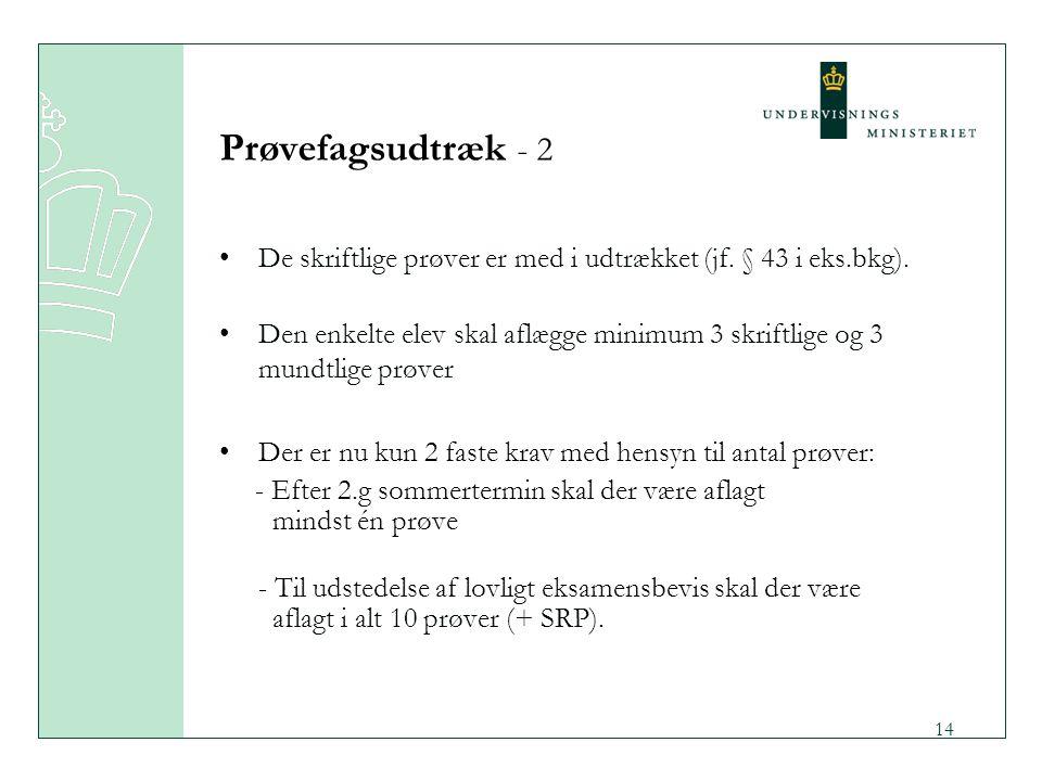 Prøvefagsudtræk - 2 De skriftlige prøver er med i udtrækket (jf. § 43 i eks.bkg).