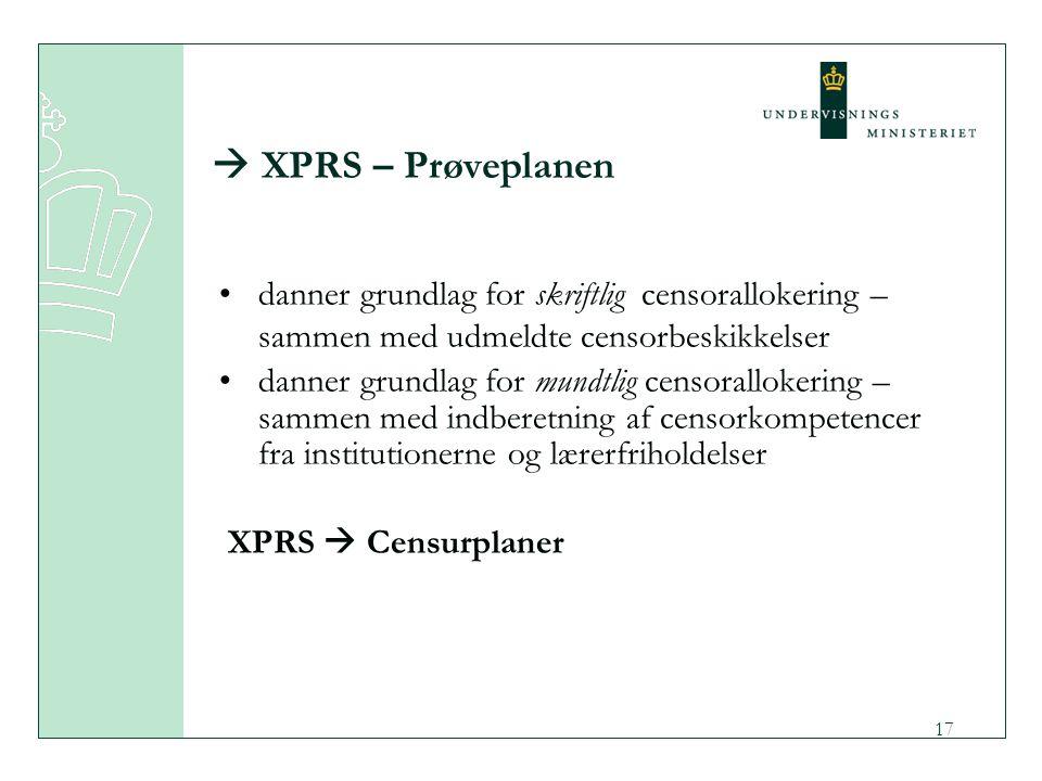  XPRS – Prøveplanen danner grundlag for skriftlig censorallokering – sammen med udmeldte censorbeskikkelser.