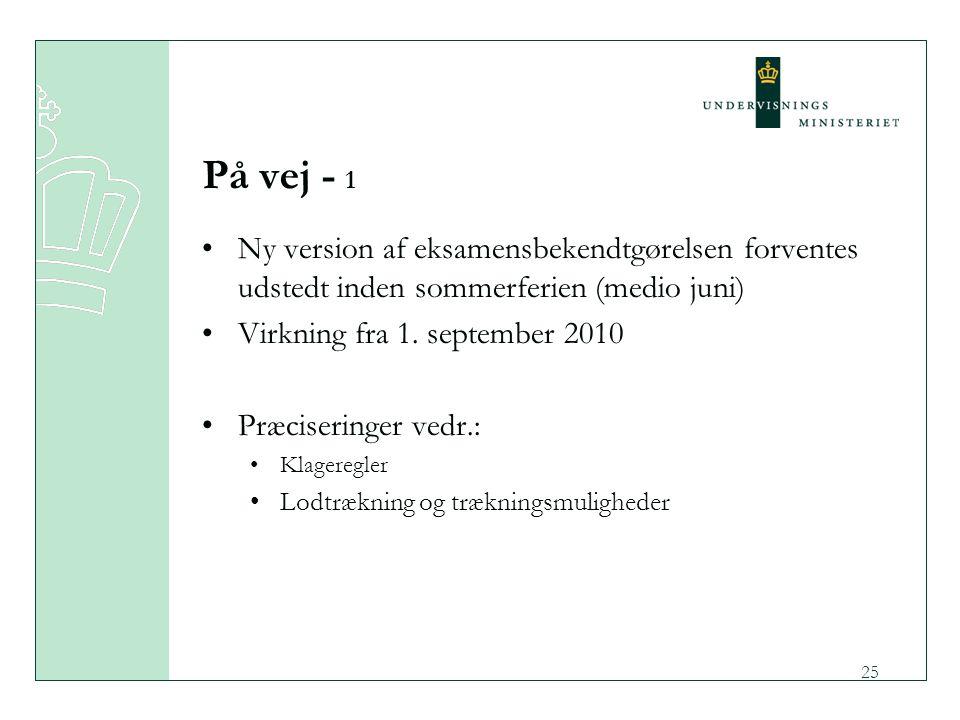 På vej - 1 Ny version af eksamensbekendtgørelsen forventes udstedt inden sommerferien (medio juni) Virkning fra 1. september 2010.