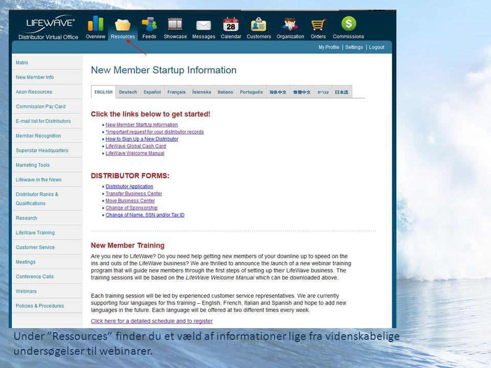 Under Ressources finder du et væld af informationer lige fra videnskabelige undersøgelser til webinarer.