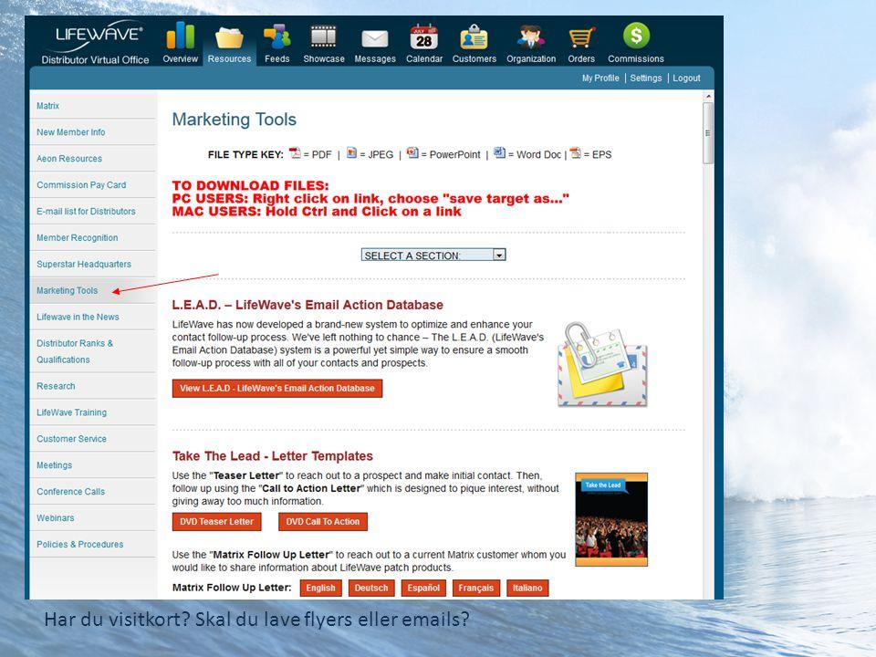 Har du visitkort Skal du lave flyers eller emails