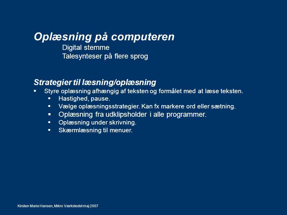 Oplæsning på computeren