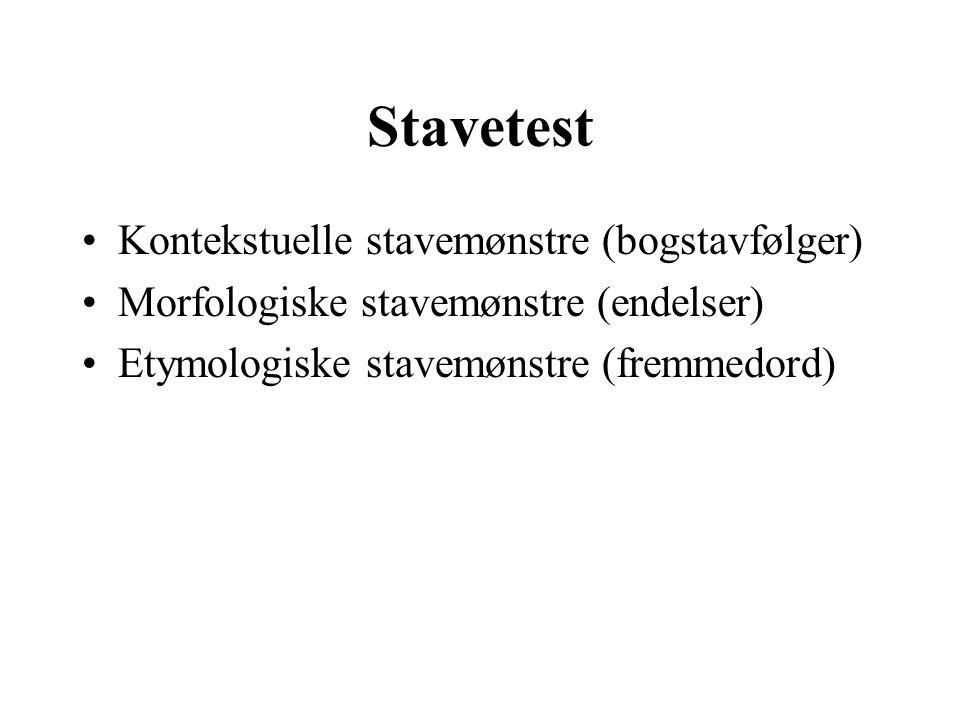 Stavetest Kontekstuelle stavemønstre (bogstavfølger)