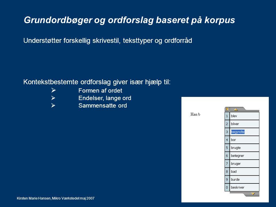 Grundordbøger og ordforslag baseret på korpus