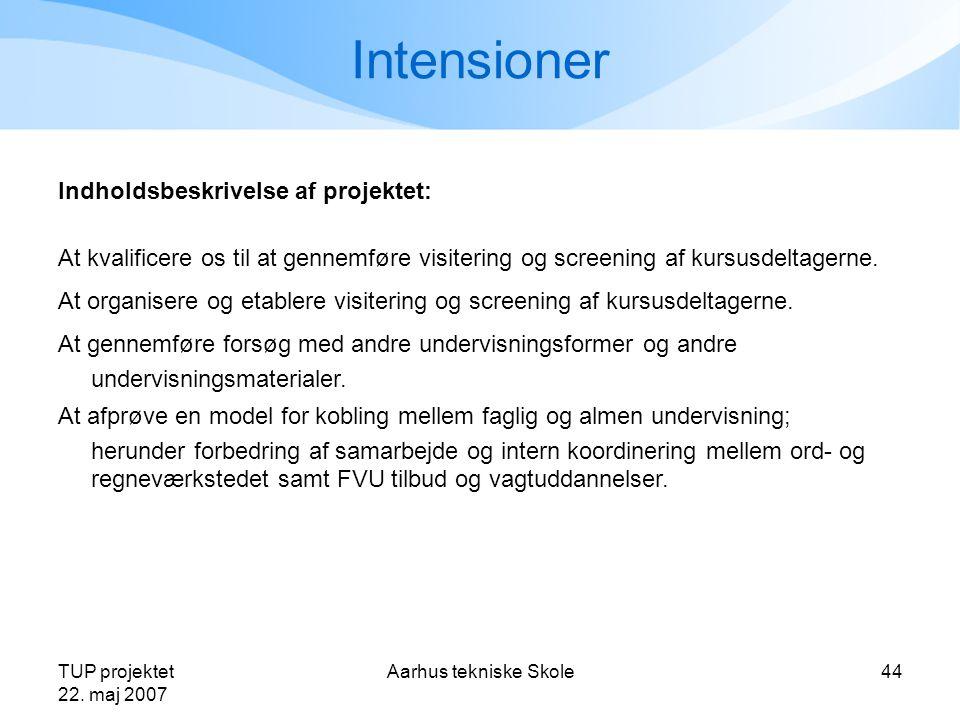 Intensioner Indholdsbeskrivelse af projektet: