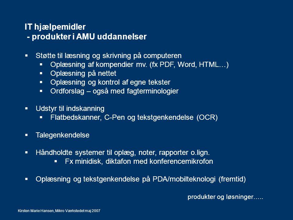 - produkter i AMU uddannelser