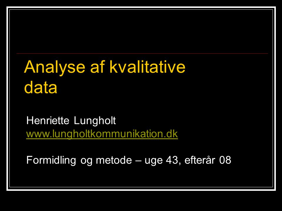 Analyse af kvalitative data