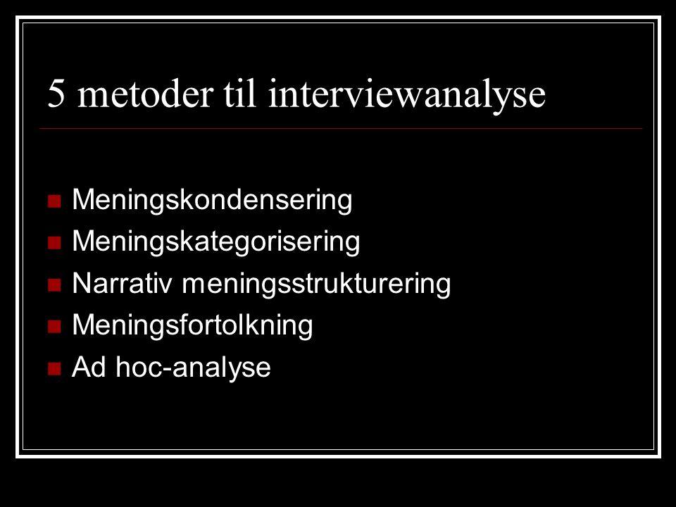 5 metoder til interviewanalyse