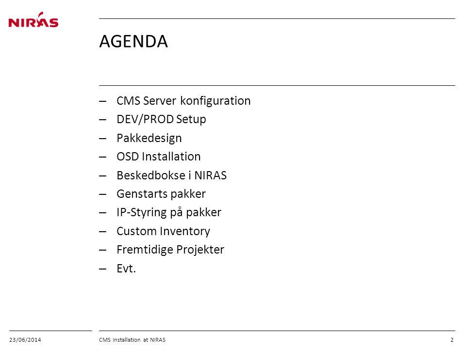 AGENDA CMS Server konfiguration DEV/PROD Setup Pakkedesign