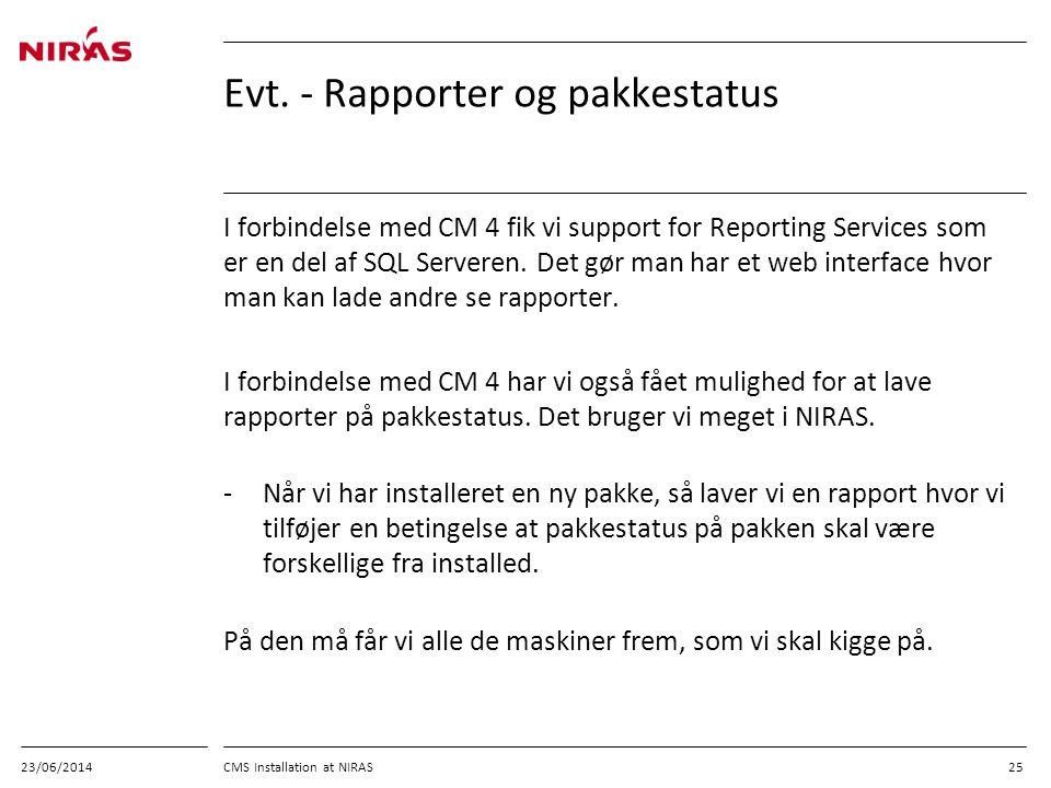Evt. - Rapporter og pakkestatus