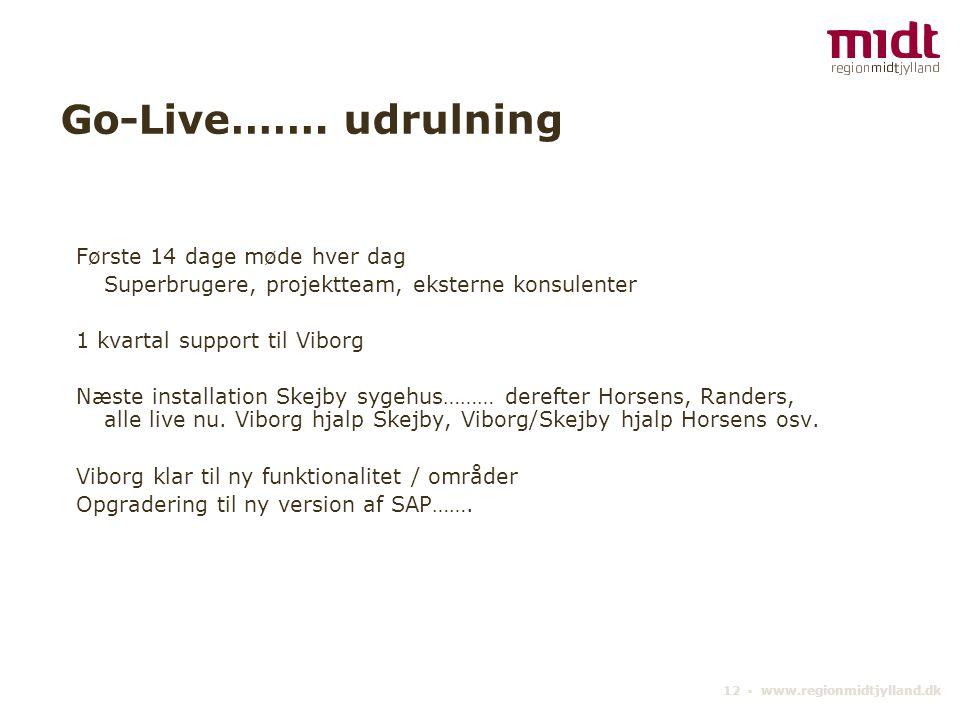 Go-Live……. udrulning Første 14 dage møde hver dag