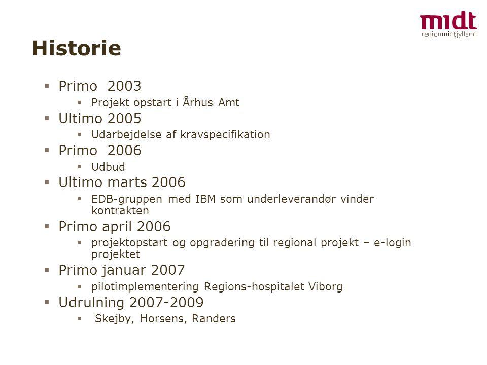 Historie Primo 2003 Ultimo 2005 Primo 2006 Ultimo marts 2006