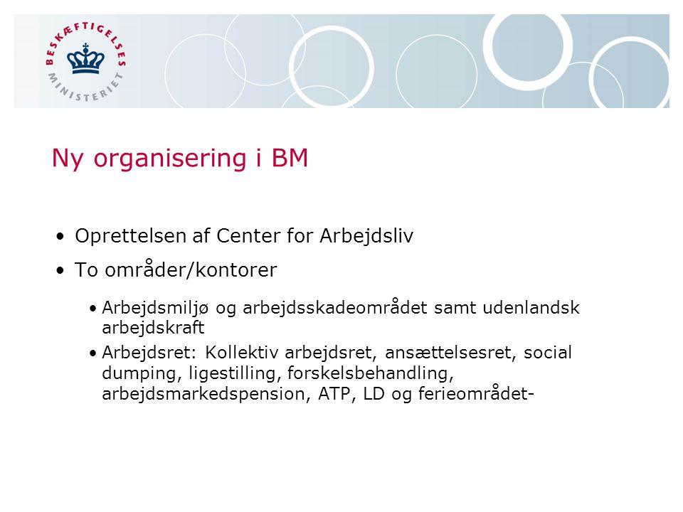 Ny organisering i BM Oprettelsen af Center for Arbejdsliv