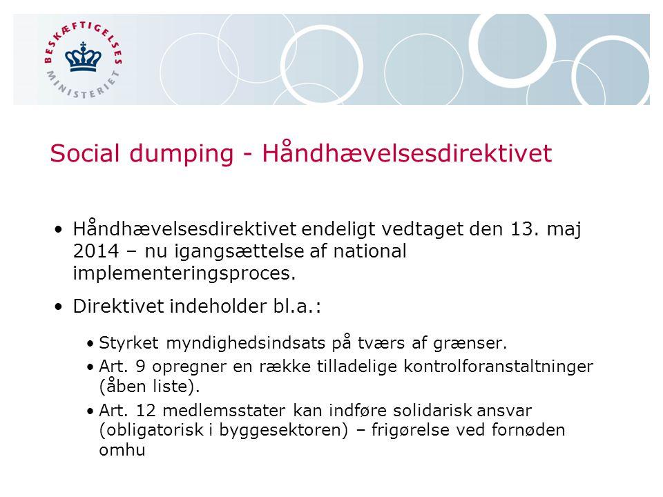 Social dumping - Håndhævelsesdirektivet