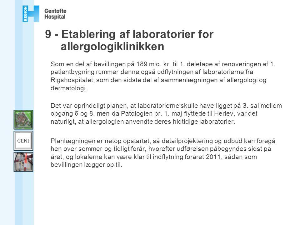 9 - Etablering af laboratorier for allergologiklinikken