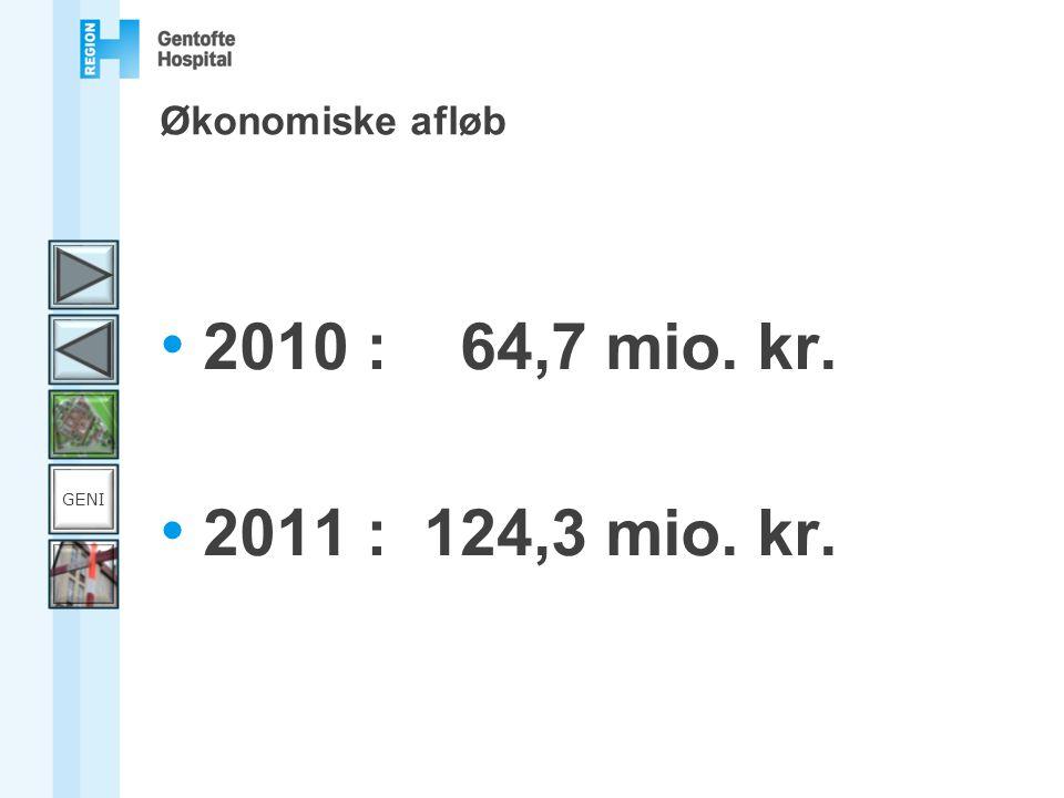 Økonomiske afløb 2010 : 64,7 mio. kr. 2011 : 124,3 mio. kr. GENI