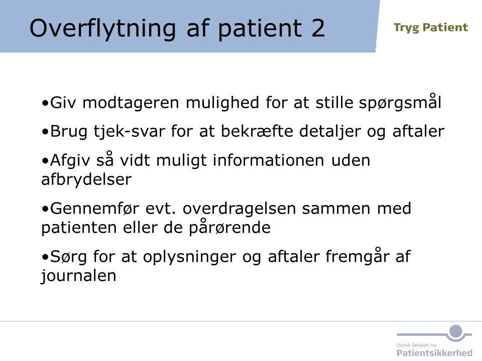 Overflytning af patient 2