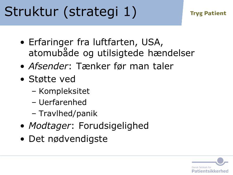 Struktur (strategi 1) Erfaringer fra luftfarten, USA, atomubåde og utilsigtede hændelser. Afsender: Tænker før man taler.