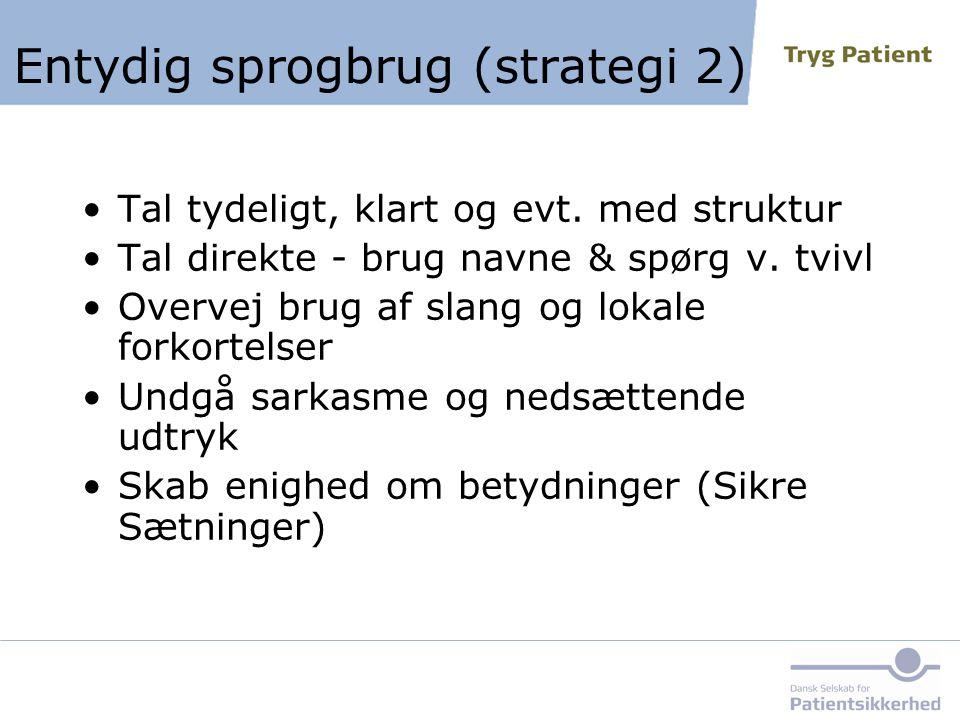 Entydig sprogbrug (strategi 2)