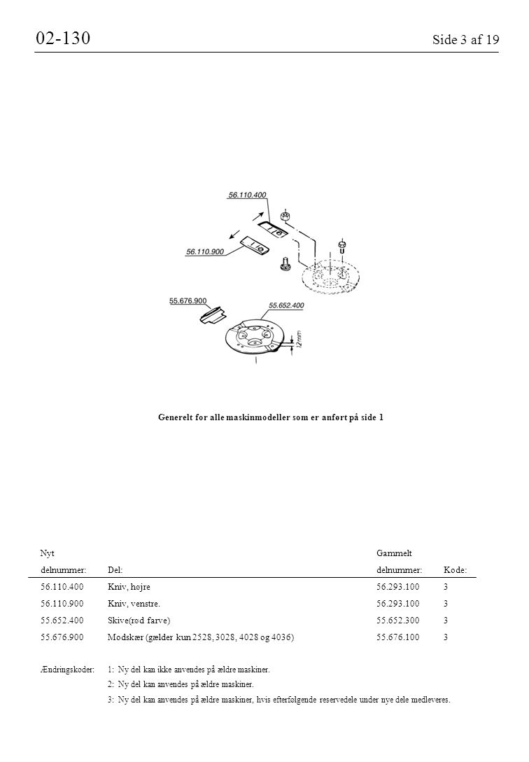 02-130 Side 3 af 19 Generelt for alle maskinmodeller som er anført på side 1. Nyt Gammelt.