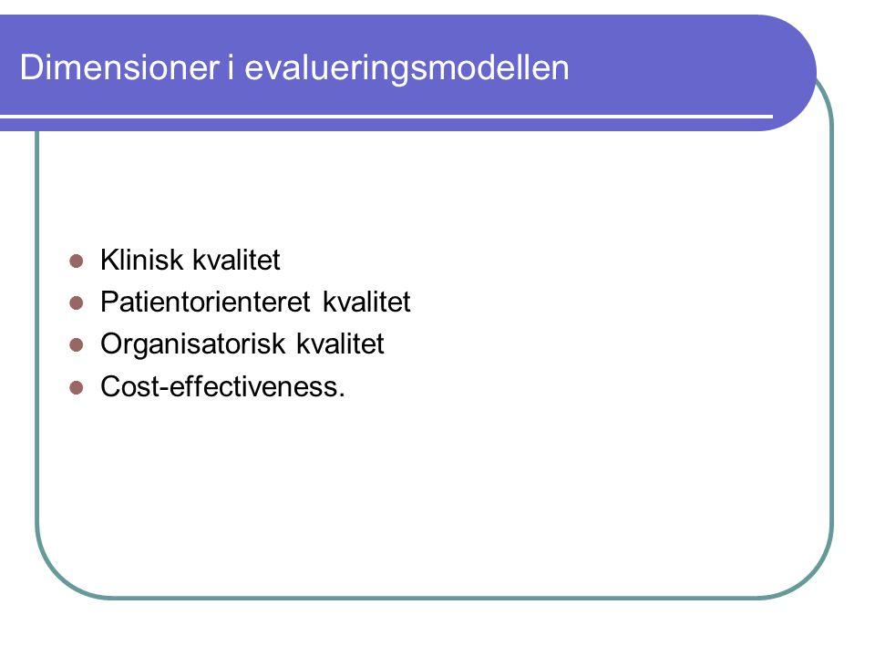 Dimensioner i evalueringsmodellen