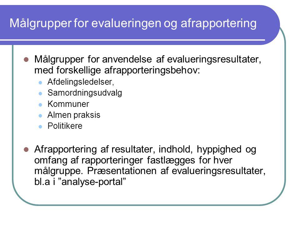 Målgrupper for evalueringen og afrapportering