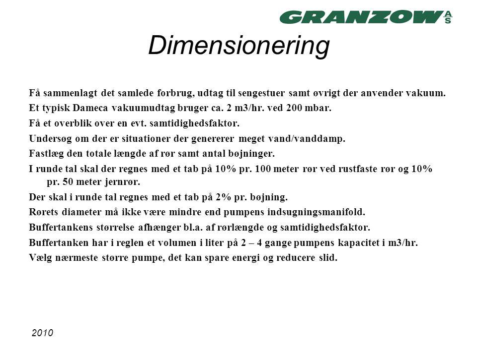 Dimensionering Få sammenlagt det samlede forbrug, udtag til sengestuer samt øvrigt der anvender vakuum.