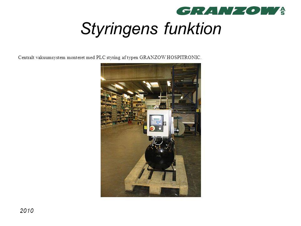 Styringens funktion Centralt vakuumsystem monteret med PLC styring af typen GRANZOW HOSPITRONIC.