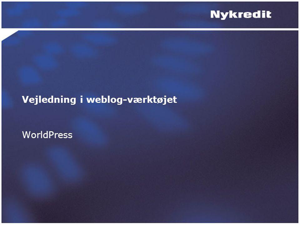 Vejledning i weblog-værktøjet