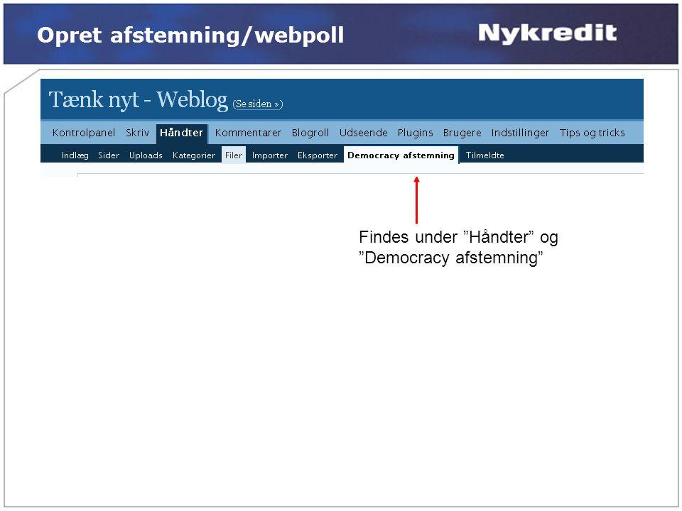 Opret afstemning/webpoll
