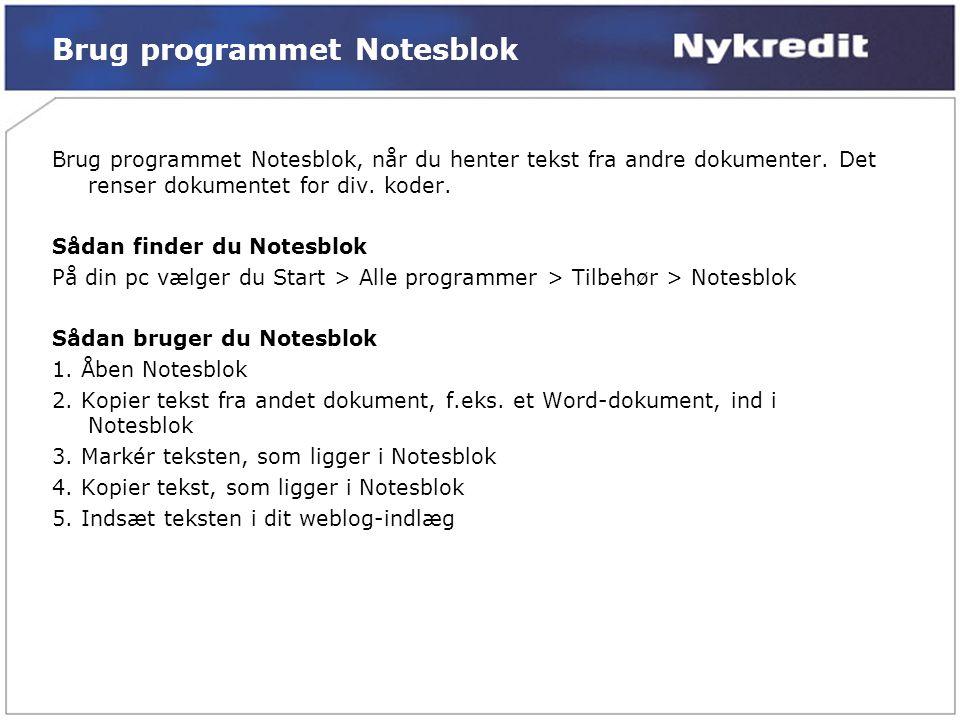 Brug programmet Notesblok