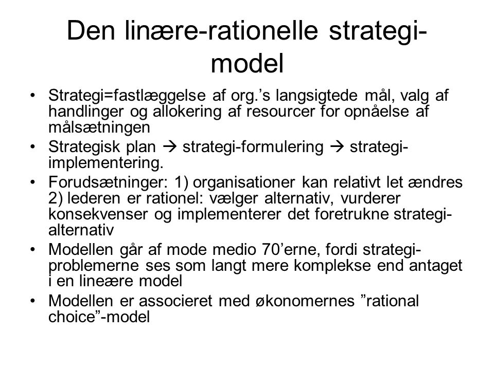 Den linære-rationelle strategi-model