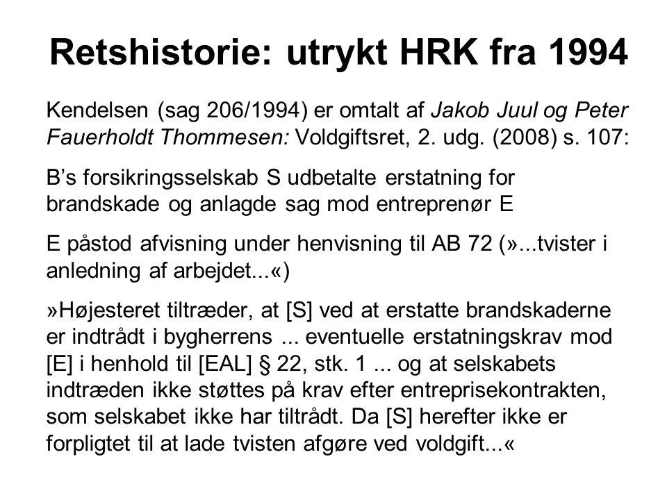 Retshistorie: utrykt HRK fra 1994