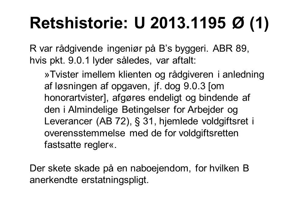 Retshistorie: U 2013.1195 Ø (1) R var rådgivende ingeniør på B's byggeri. ABR 89, hvis pkt. 9.0.1 lyder således, var aftalt: