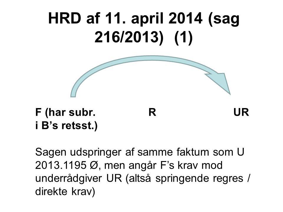 HRD af 11. april 2014 (sag 216/2013) (1) F (har subr. R UR