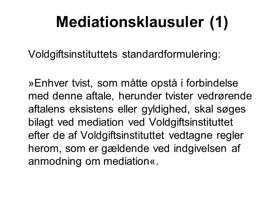 Mediationsklausuler (1)
