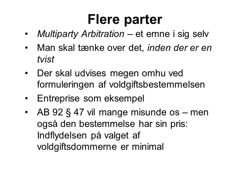 Flere parter Multiparty Arbitration – et emne i sig selv