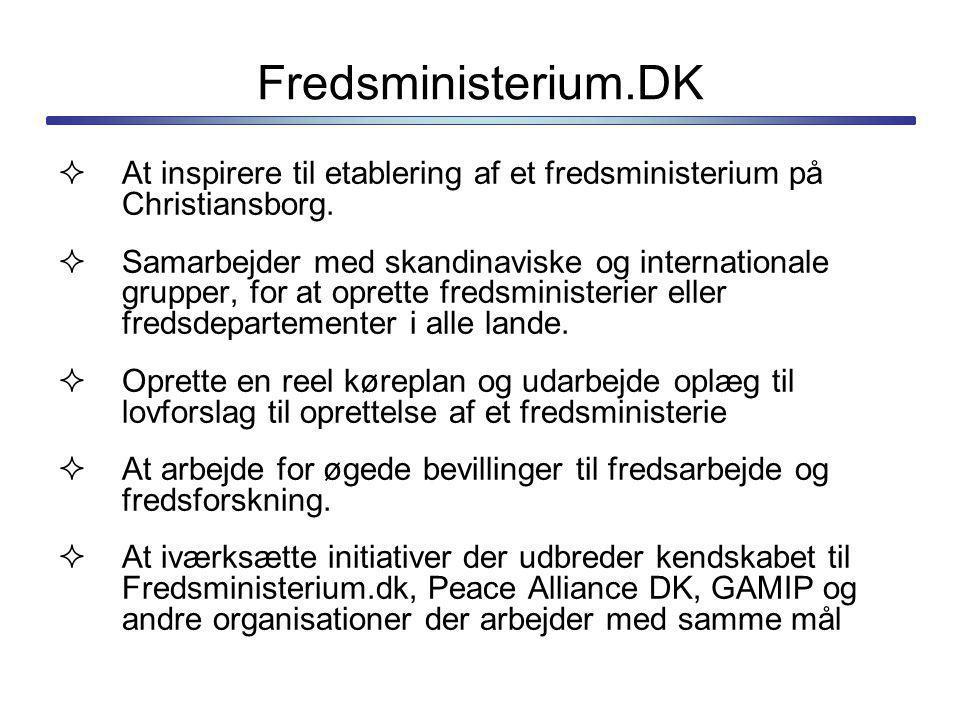 Fredsministerium.DK At inspirere til etablering af et fredsministerium på Christiansborg.