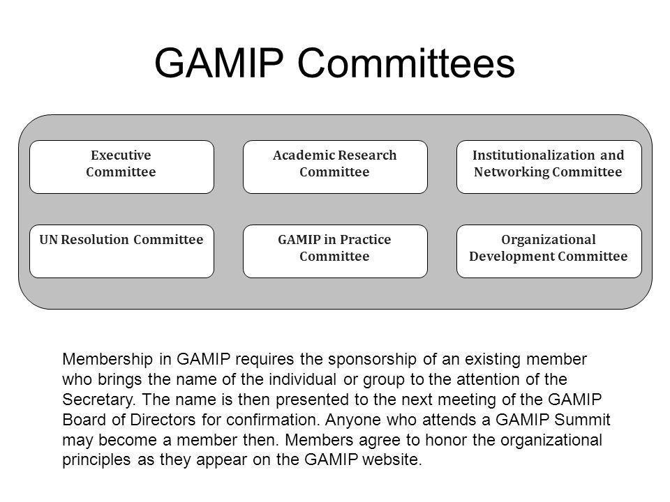 GAMIP Committees Executive. Committee. Academic Research Committee. Institutionalization and Networking Committee.