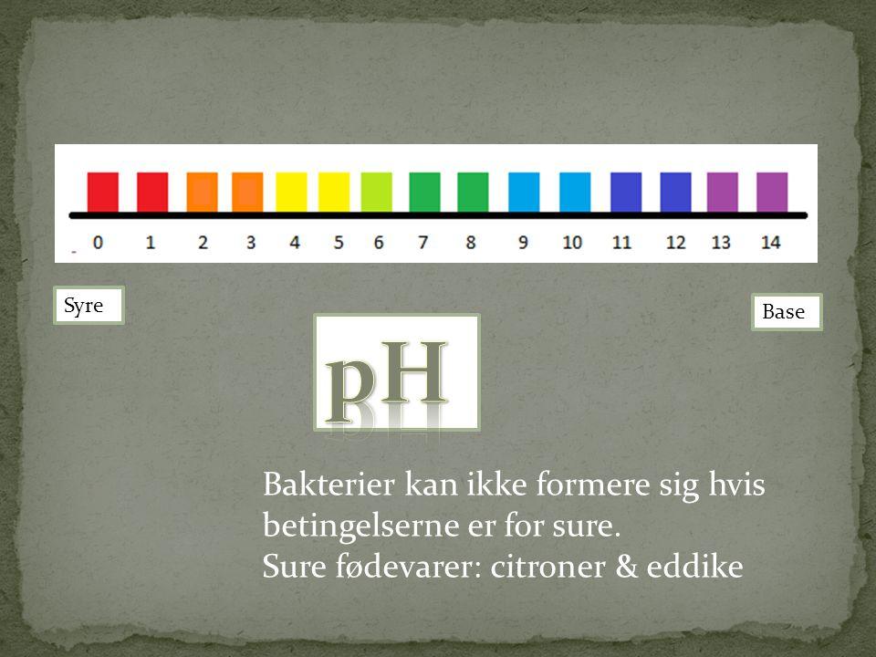 pH Bakterier kan ikke formere sig hvis betingelserne er for sure.