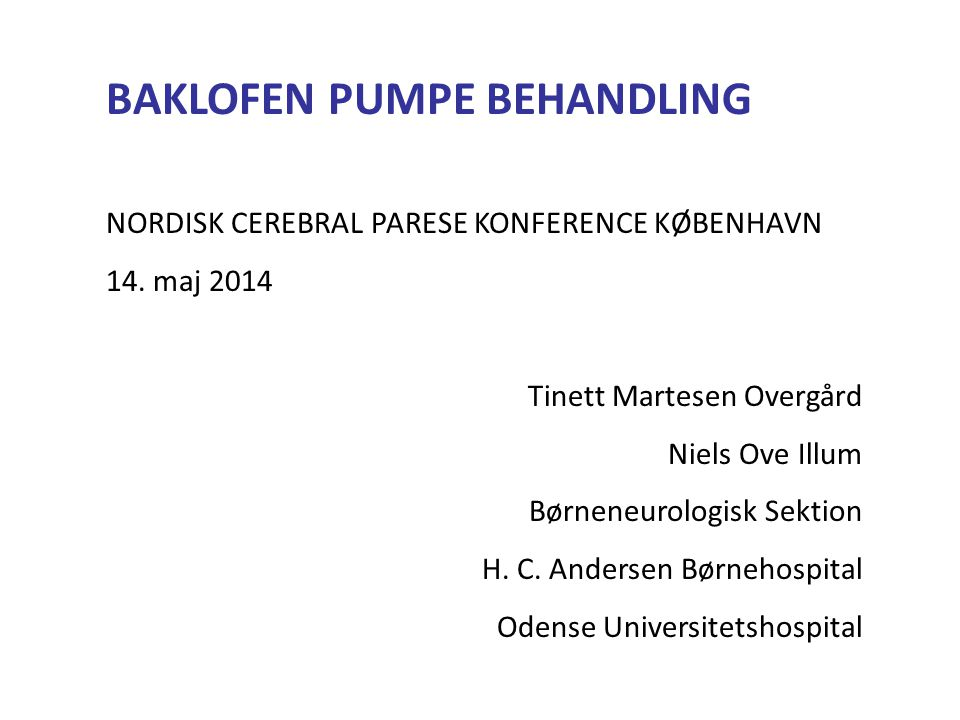 BAKLOFEN PUMPE BEHANDLING