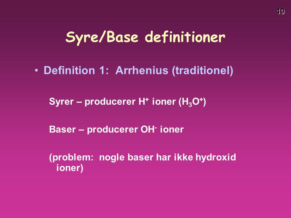 Syre/Base definitioner