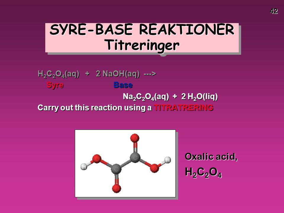 SYRE-BASE REAKTIONER Titreringer