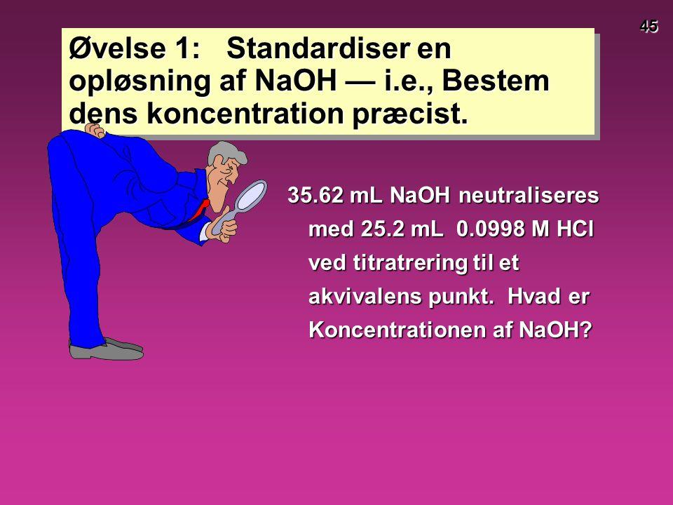 Øvelse 1: Standardiser en opløsning af NaOH — i. e