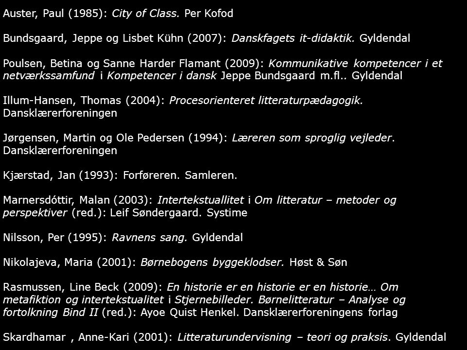 Auster, Paul (1985): City of Class. Per Kofod